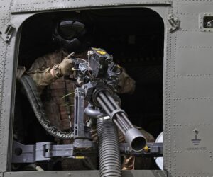 CH-47 Chinook helicopter Flex-Fire mount with M134D-H