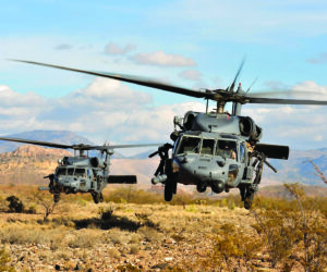 Black Hawk helicopters armed with dual M134D-H Miniguns