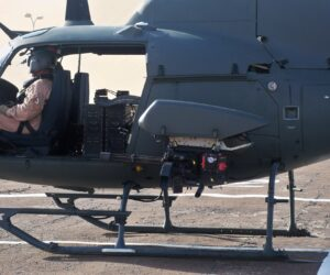 A Fixed Forward firing M134D-H mounted to a Fennec Helicopter
