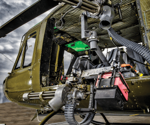 Dillon Aero MCAS-UH for the Bell Huey series aircraft with a Fixed Forward M134D-H and Flex Fire M134D-H